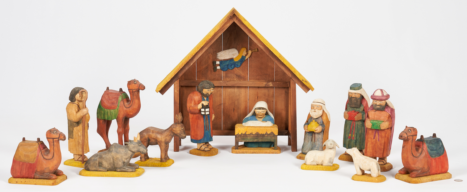 Lot 216: Roy Pace Carved & Painted Nativity Set, 14 Pcs.