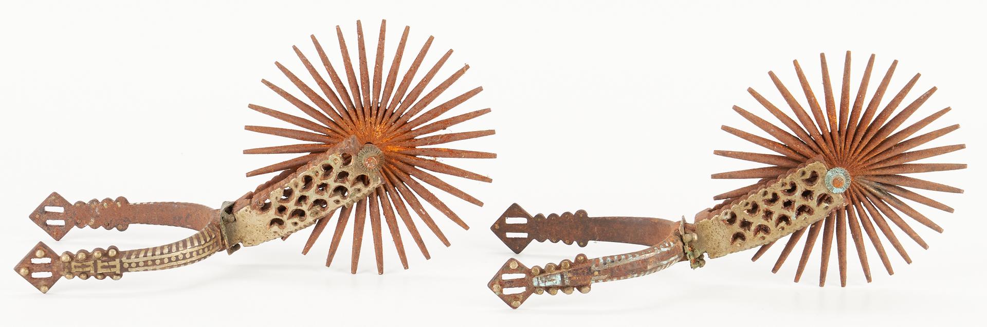 Lot 218: Brass Pistol Door Knocker & Espuela Grande Style Spurs, 6 items