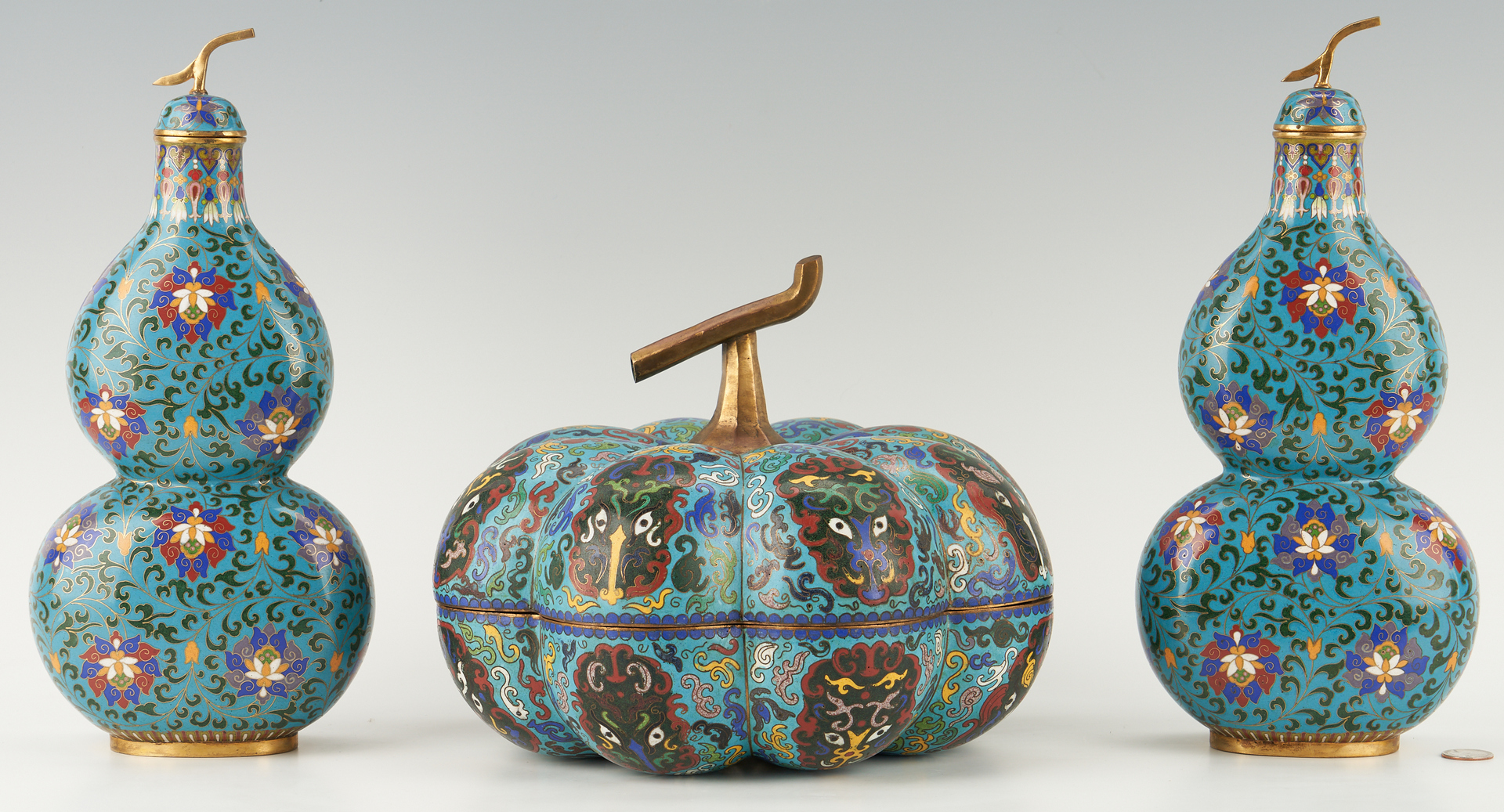 Lot 21: 3 Chinese Cloisonne Items, Covered Gourd Box & Pr. Double Gourd Vases
