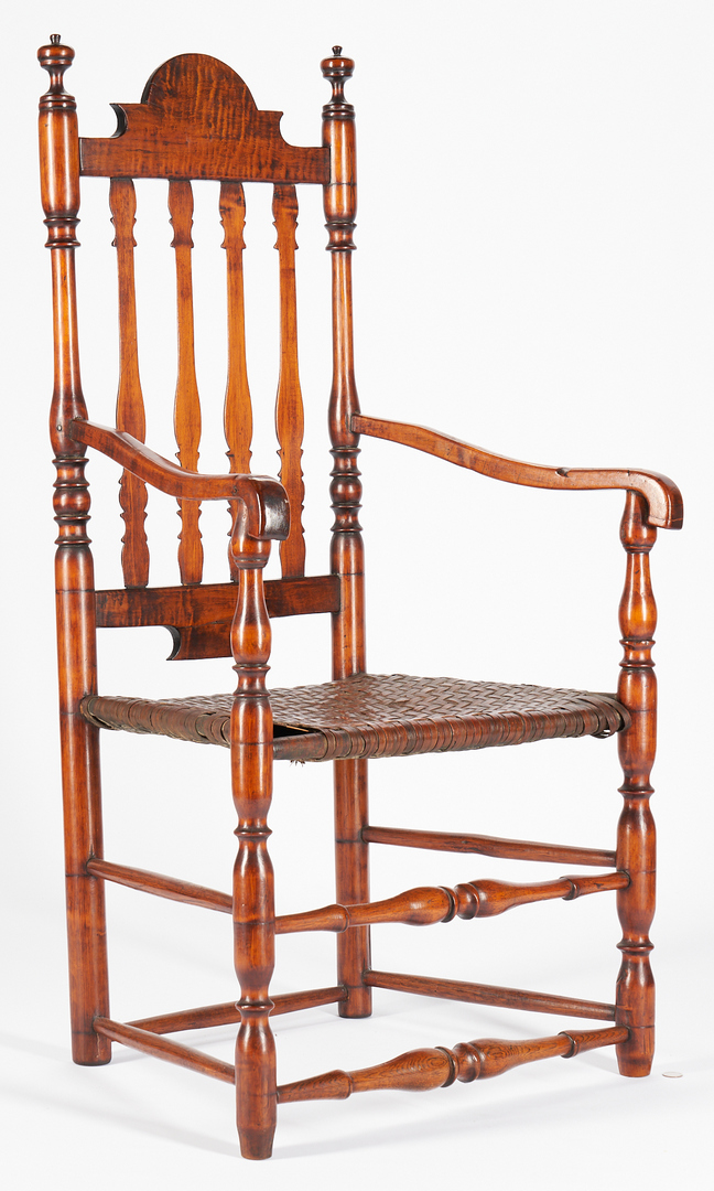 Lot 224: William & Mary Bannister Back Tiger maple Armchair, New England