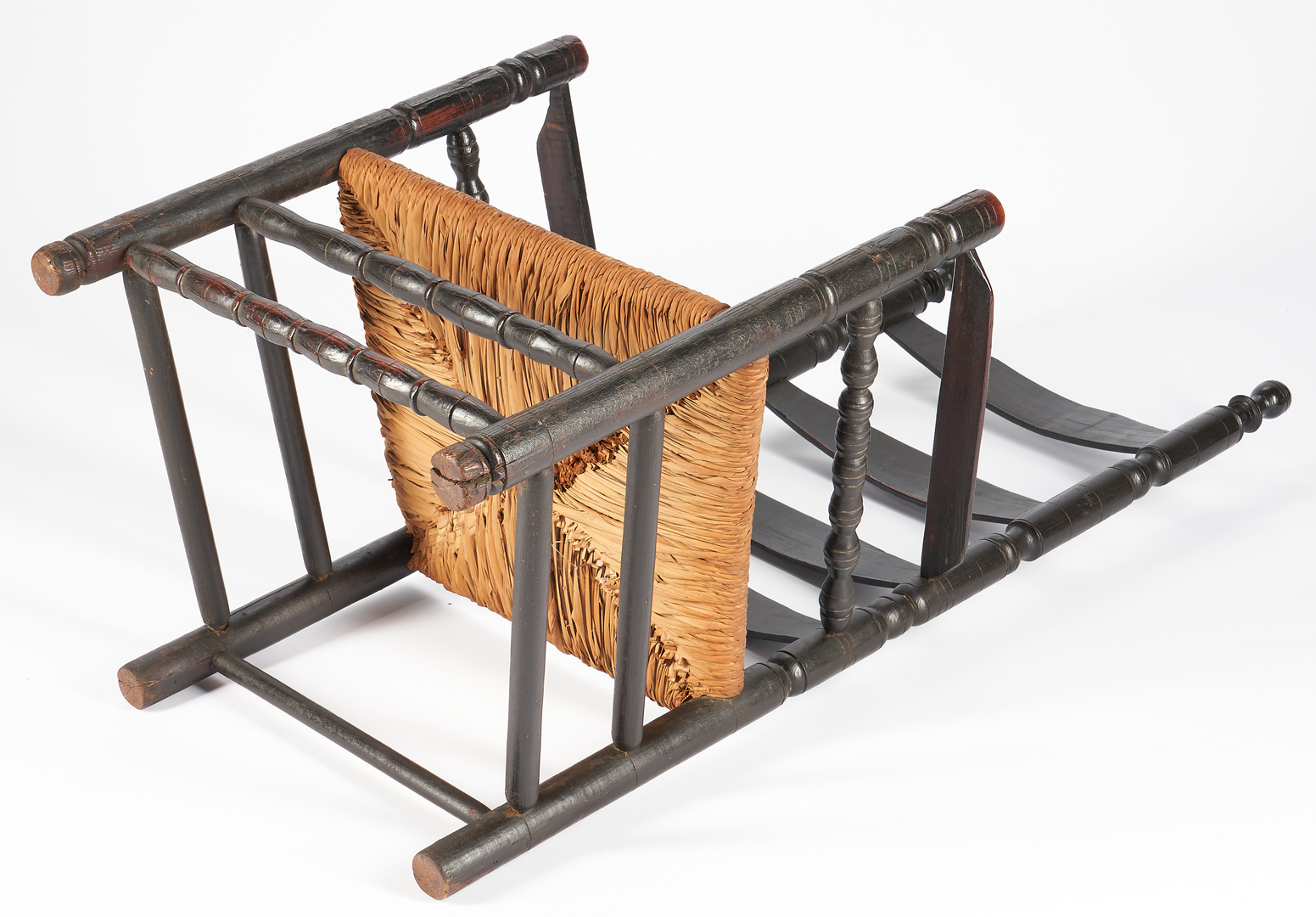 Lot 228: William and Mary Early American Oak Ladderback Armchair