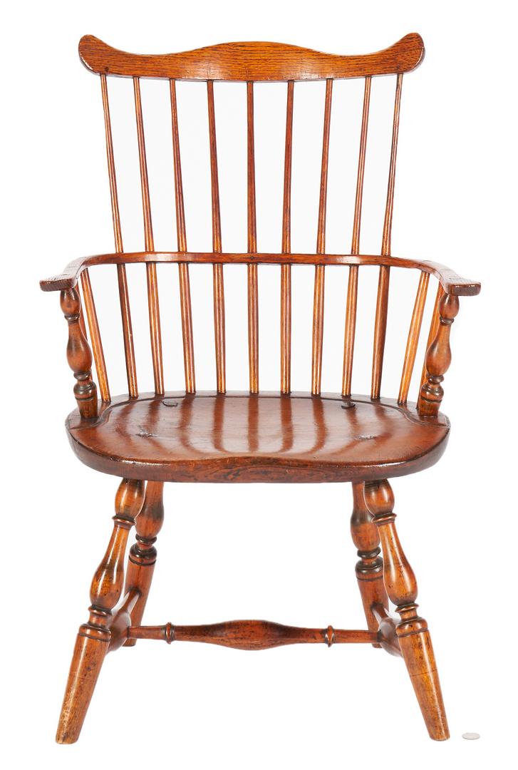 Lot 229: American Windsor Fan Back Armchair, ex-Charles Davis