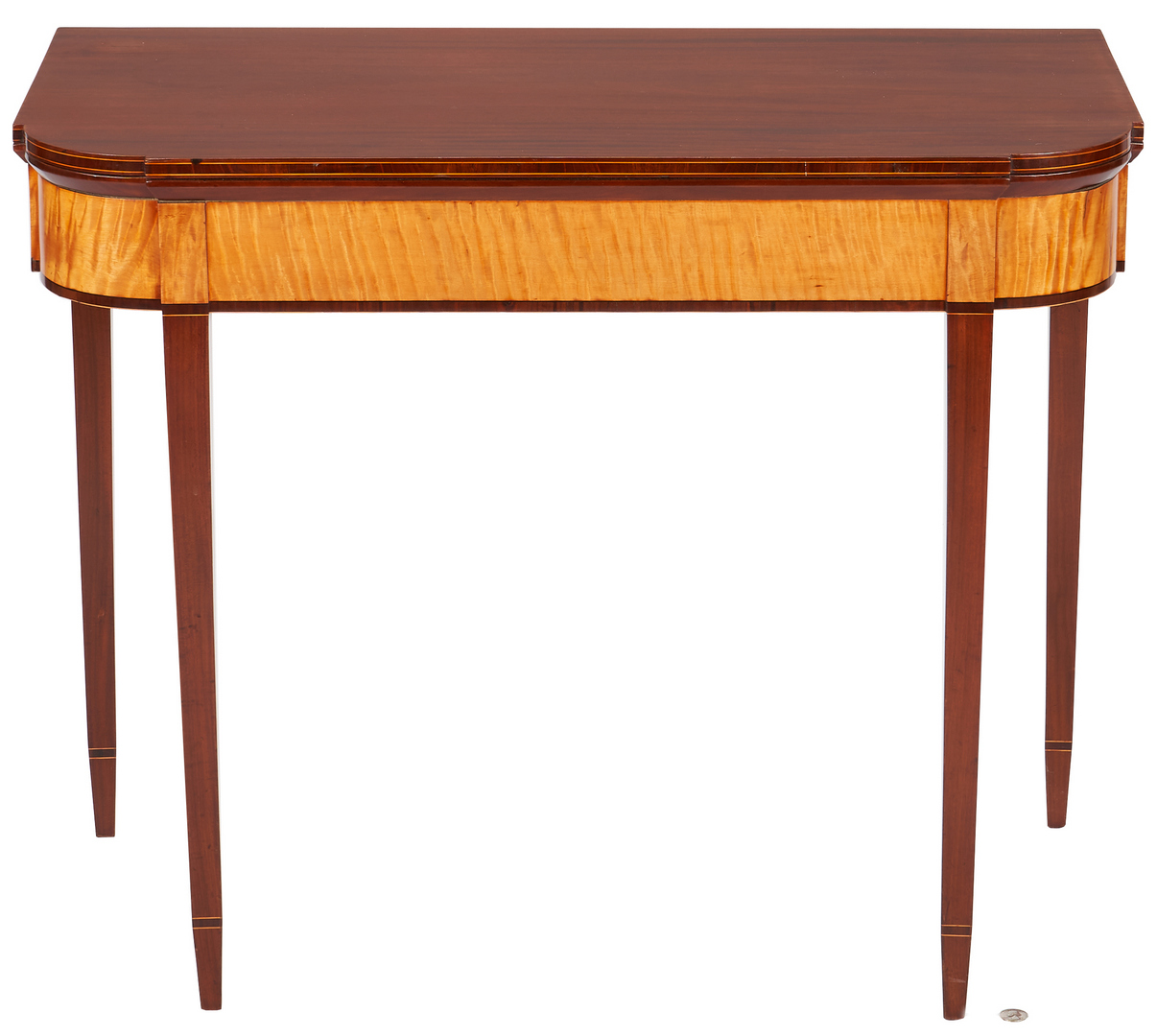 Lot 231: Federal New England Card Table, Tiger Maple Inlay