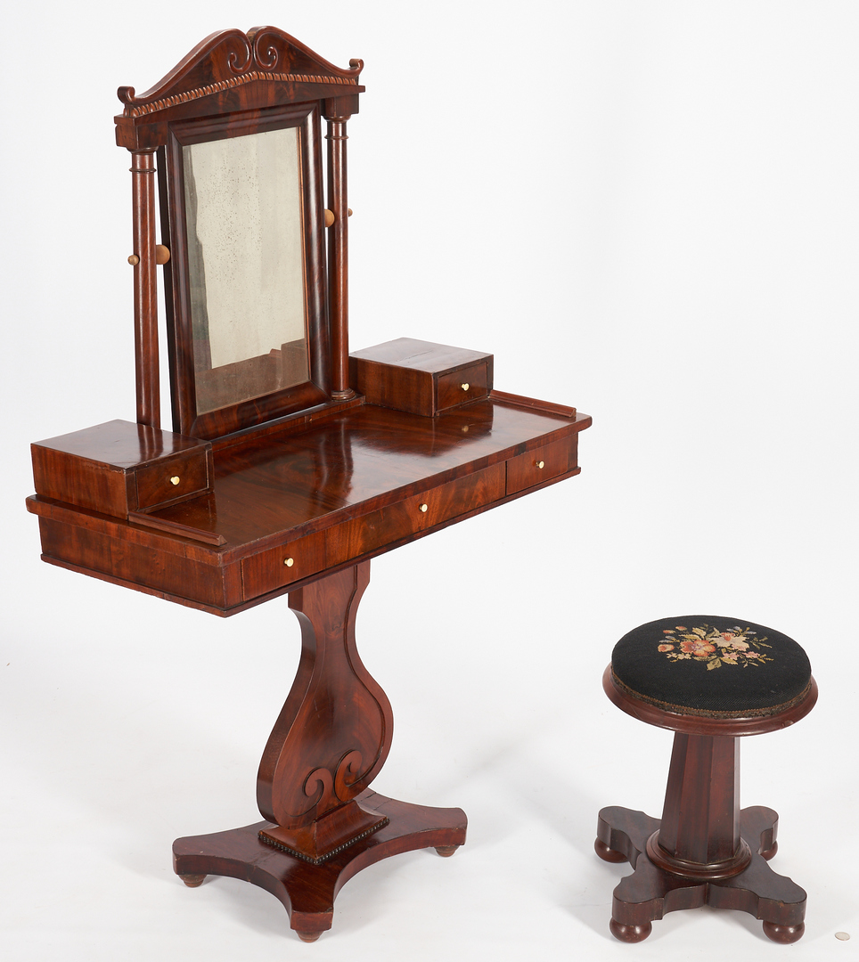 Lot 233: Continental Dressing Table on Stand & Classical Piano Stool