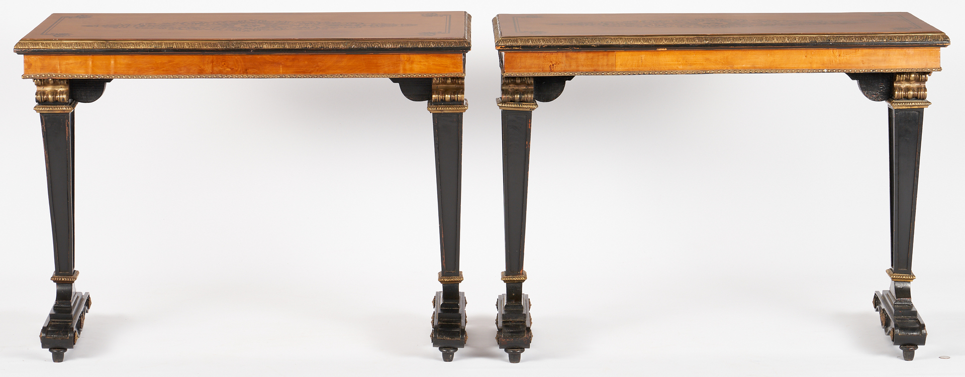Lot 234: Pair Continental Neo-Grec or Regency Style Pier Tables