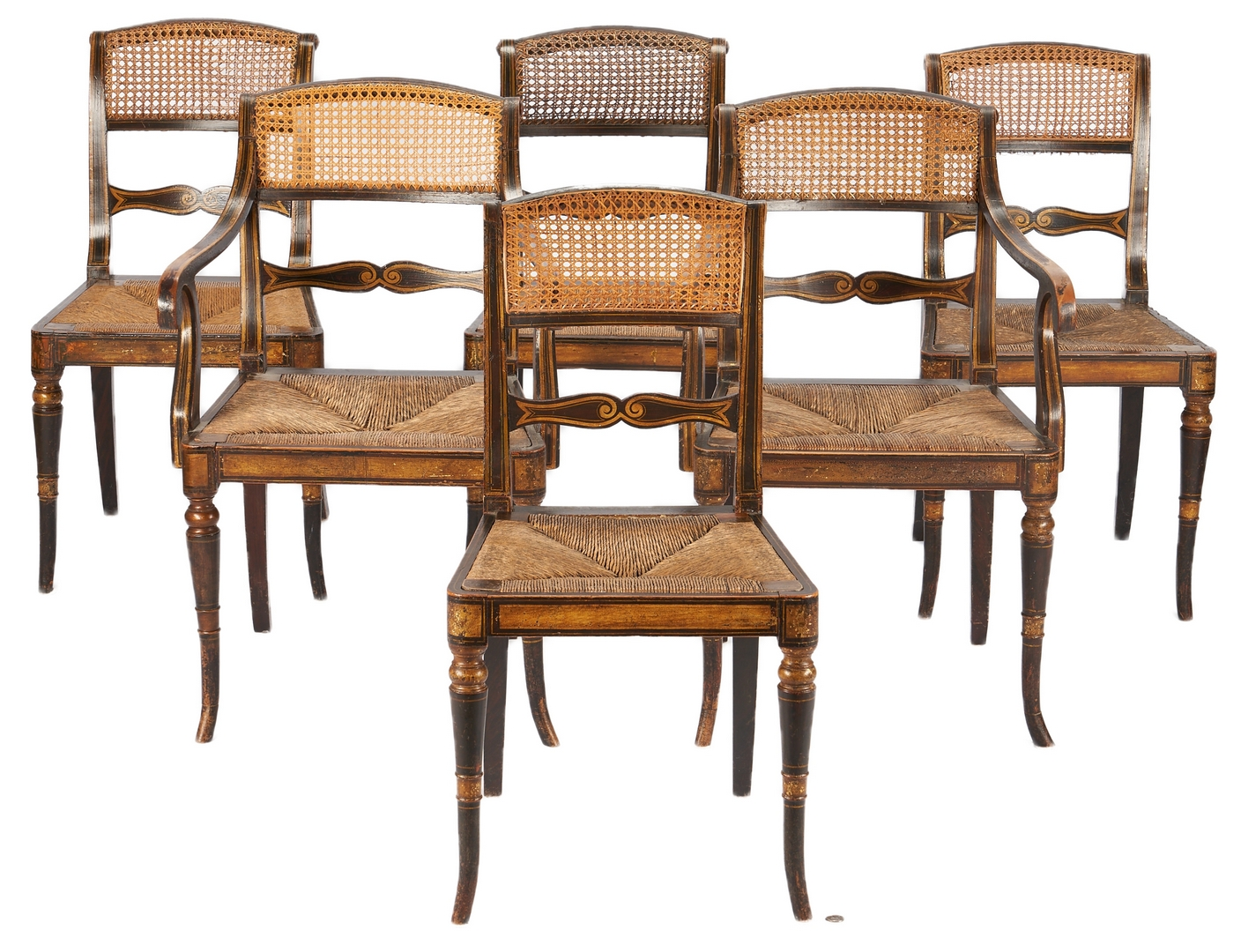Lot 235: Set of 12 English Regency Paint Decorated Chairs