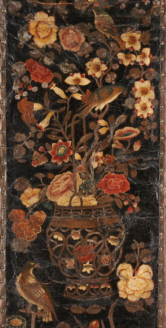 Lot 240: Continental Chinoiserie Painted Leather Screen or Room Divider