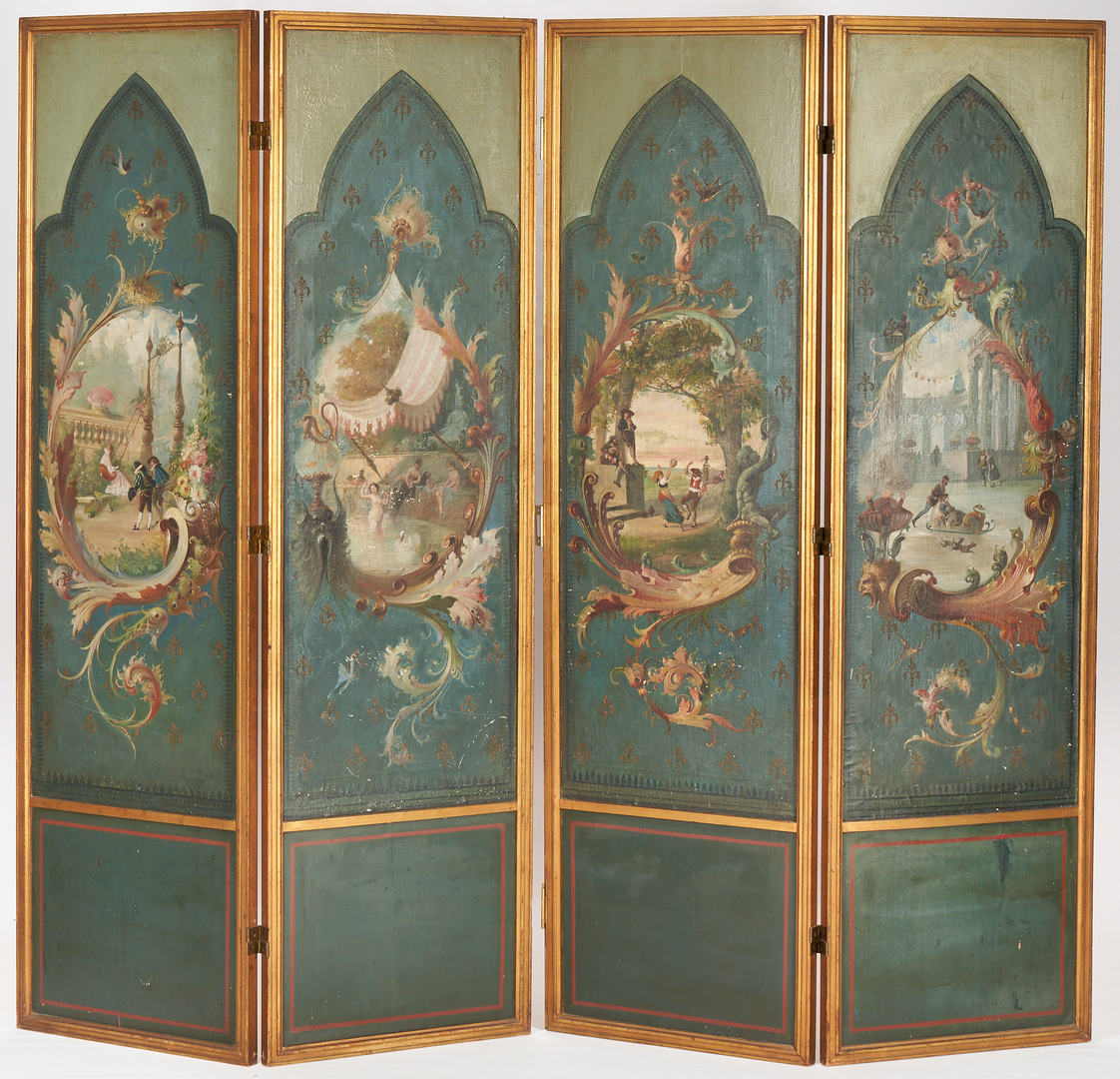 Lot 242: 4 Panel Hand Painted French Screen
