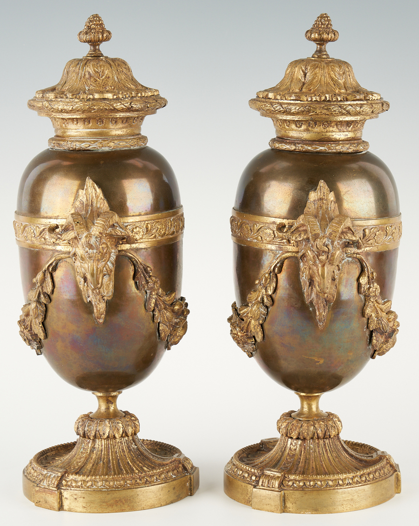 Lot 248: Pr. Ormolu Mounted and Lidded Urns, Ram's Head Handles