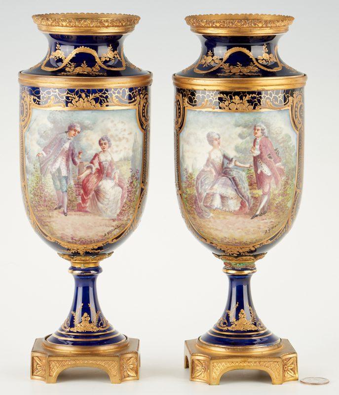 Lot 249: Pair of French Porcelain Urns, Gilt Mounts, Artist Signed