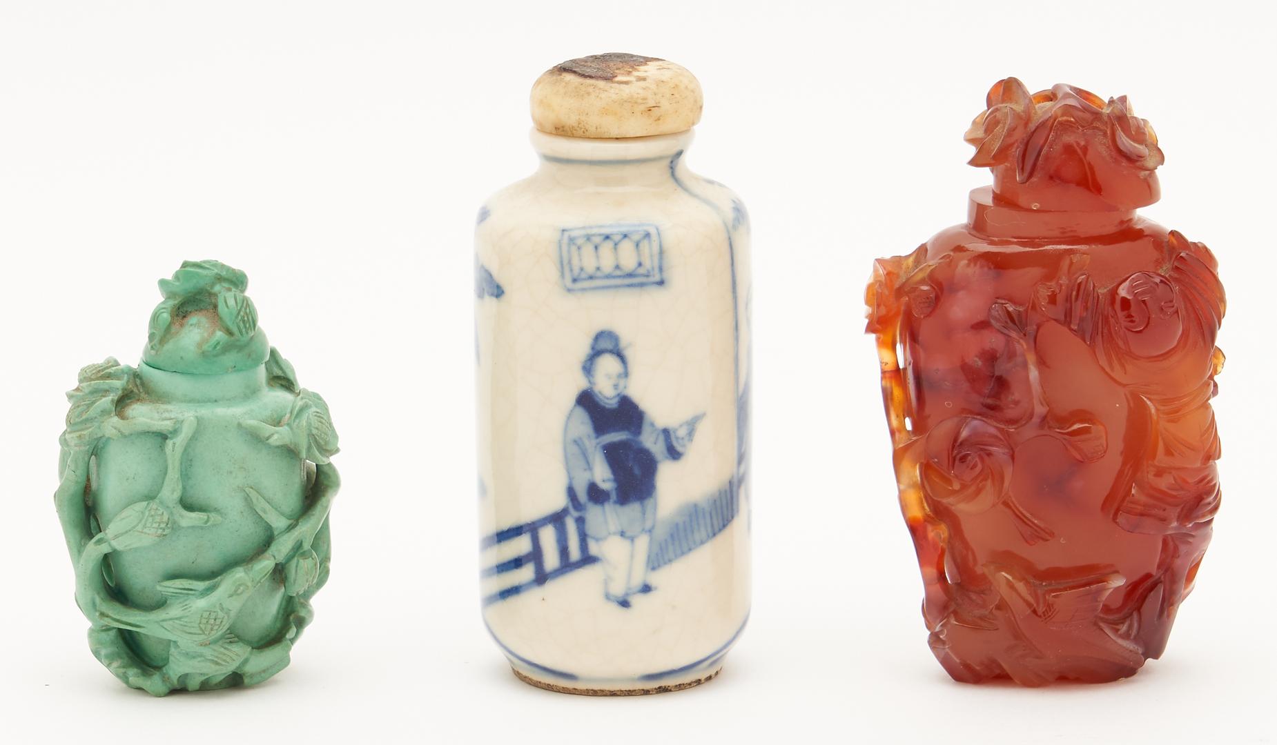 Lot 24: 3 Chinese Snuff Bottles, Hardstone & Porcelain