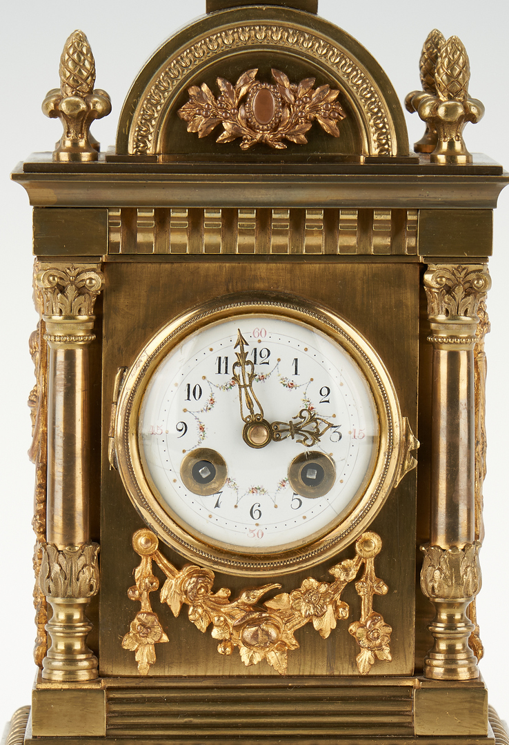 Lot 250: 3 Continental Decorative Items, incl. Carriage Clock, Inkwell