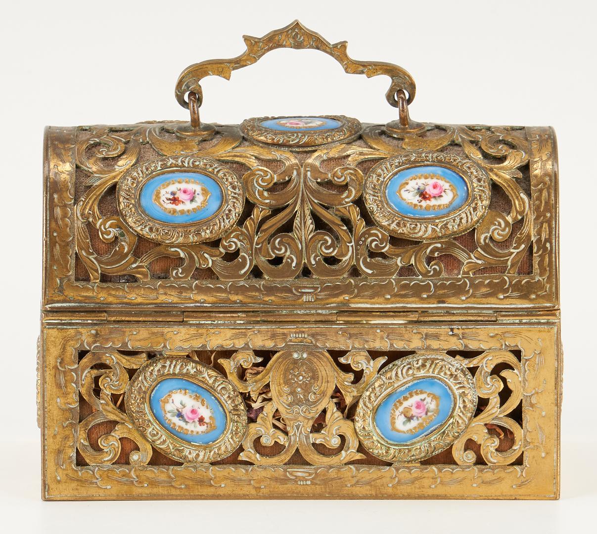 Lot 251: 3 European Decorative Items: Dresser Box, Miniature Portrait and Urn