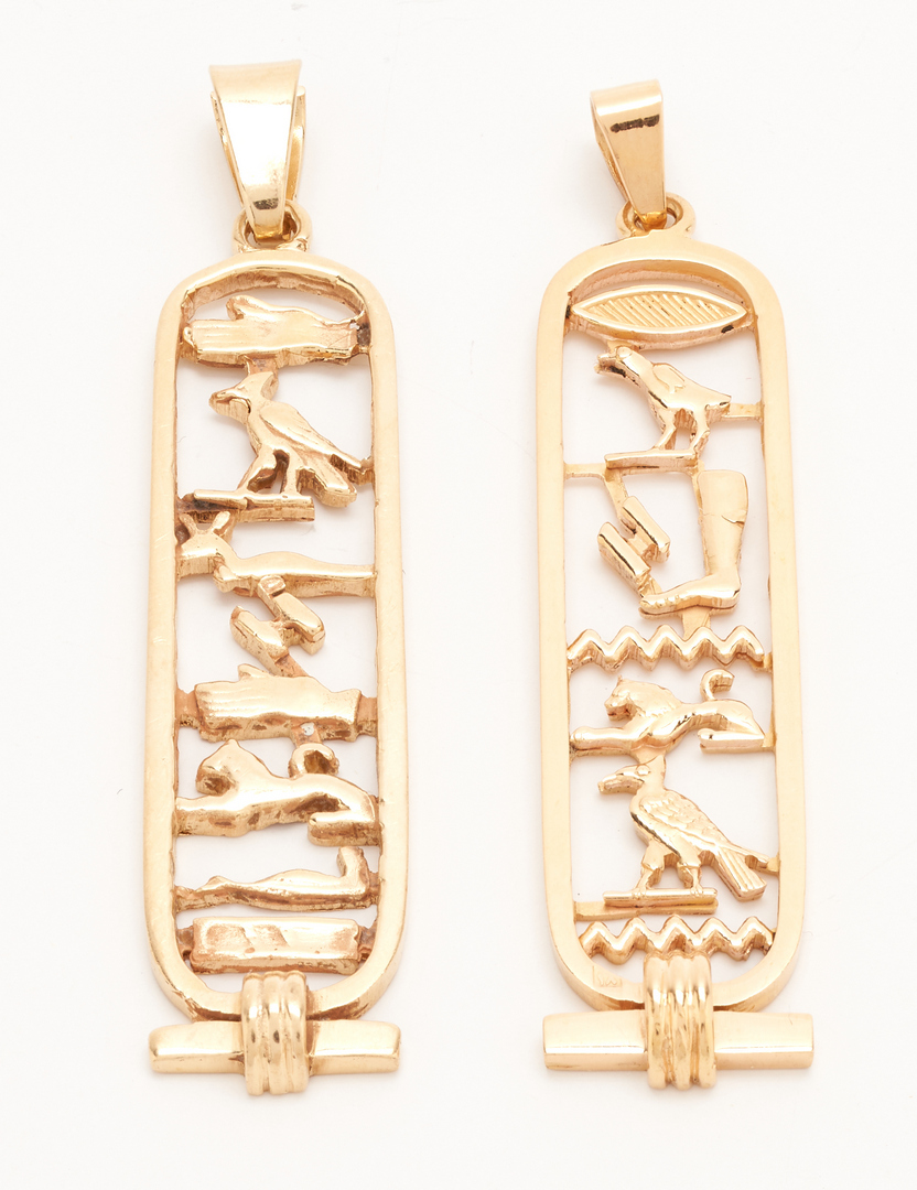 Lot 253: 18K Grasshopper Brooch & 2 14K Hieroglyphic Pendants