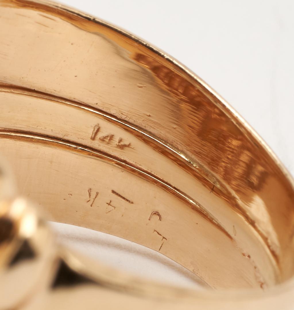 Lot 256: Ladies 14K Diamond Twin Dome Ring