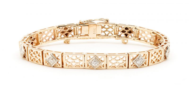 Lot 258: Ladies 14K Yellow Gold & Diamond Bracelet