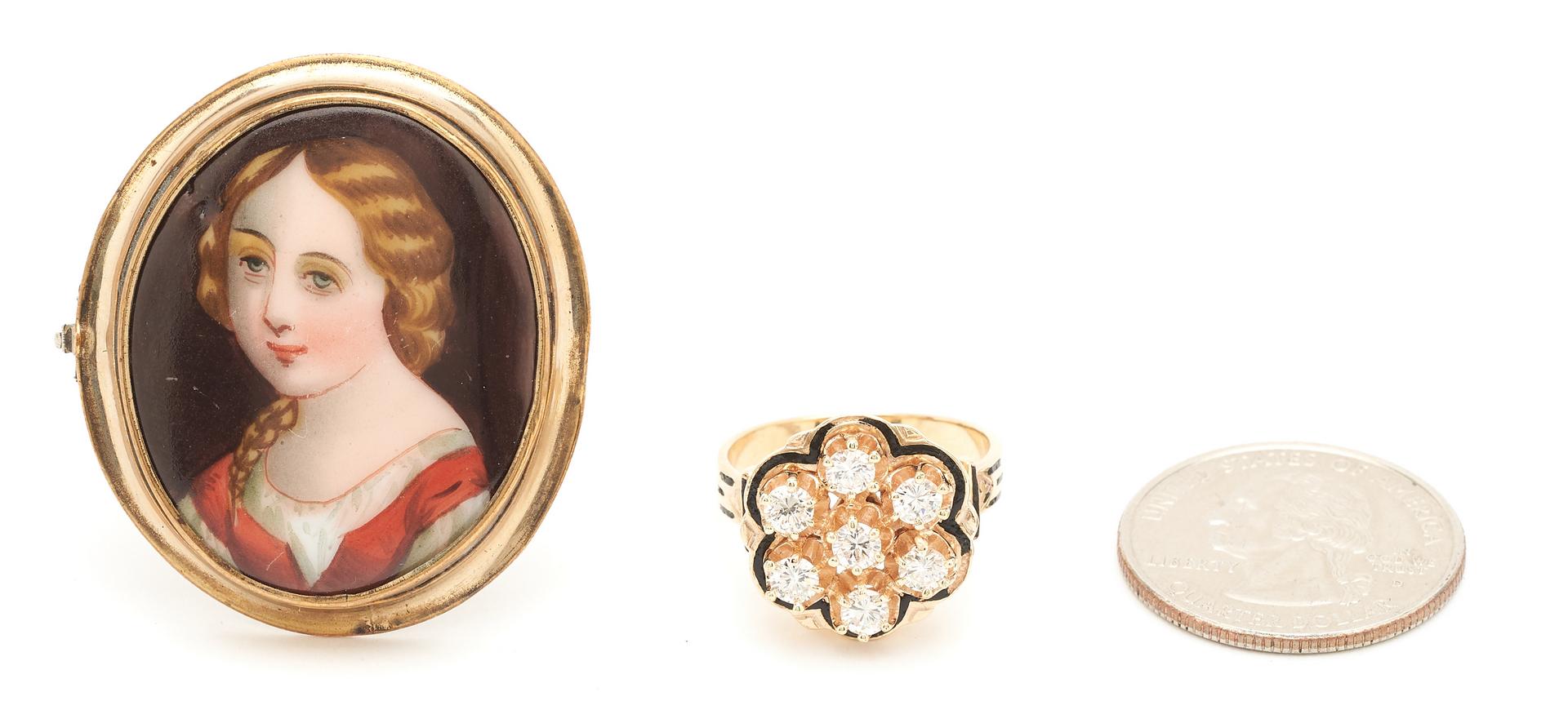 Lot 260: 14K Antique Cluster Diamond Ring & Porcelain Portrait Bust