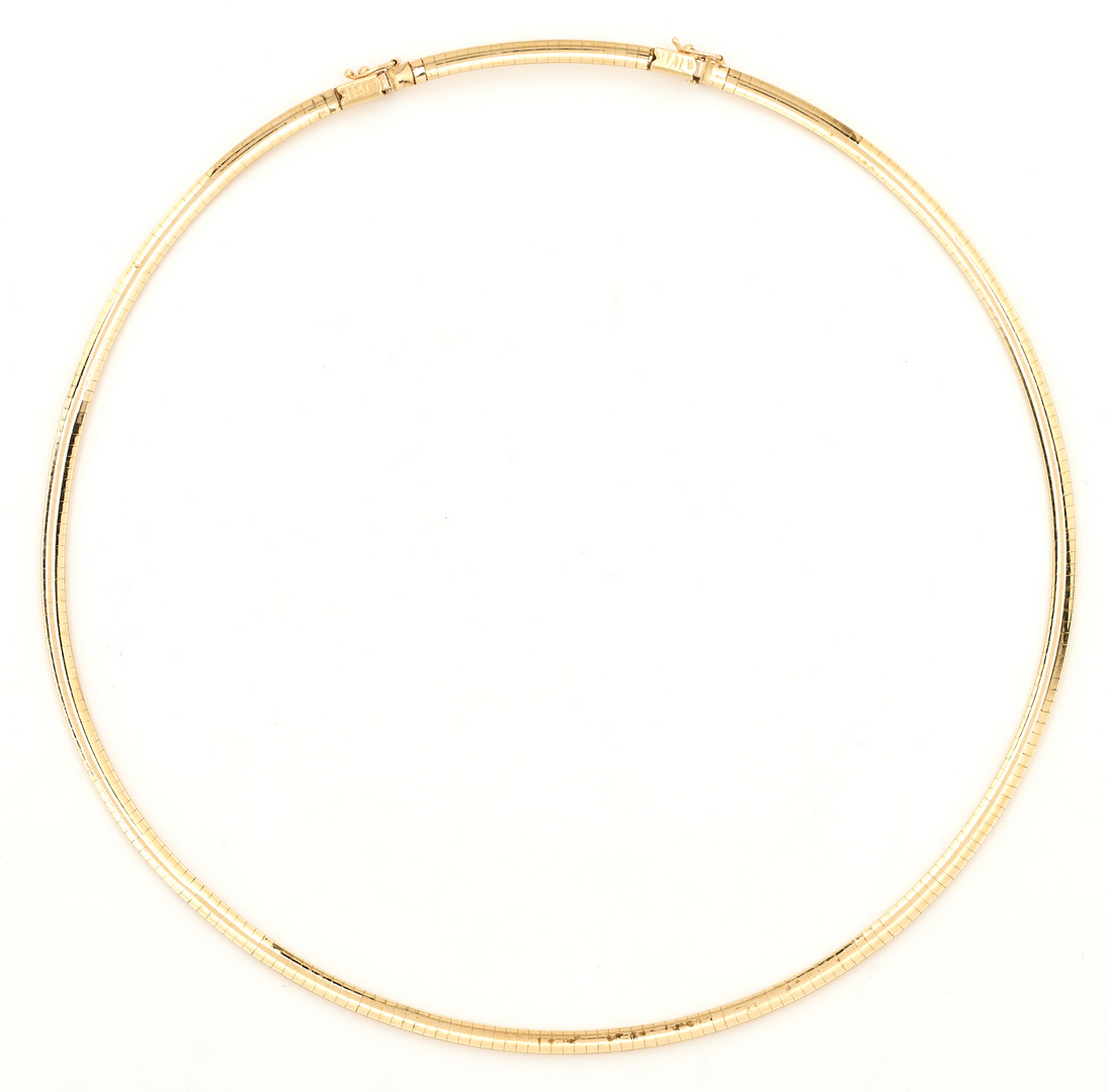 """Lot 262: Ladies 21"""" 14K Yellow Gold Omega Style Necklace"""