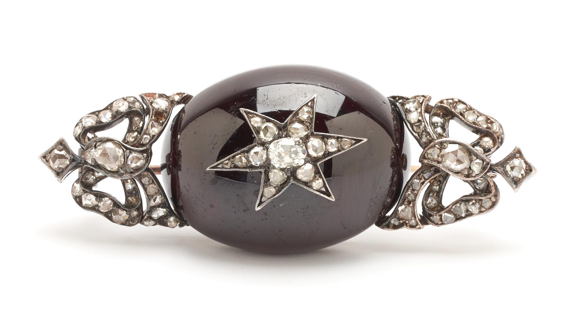 Lot 267: Garnet & Diamond 14K Brooch/Pendant