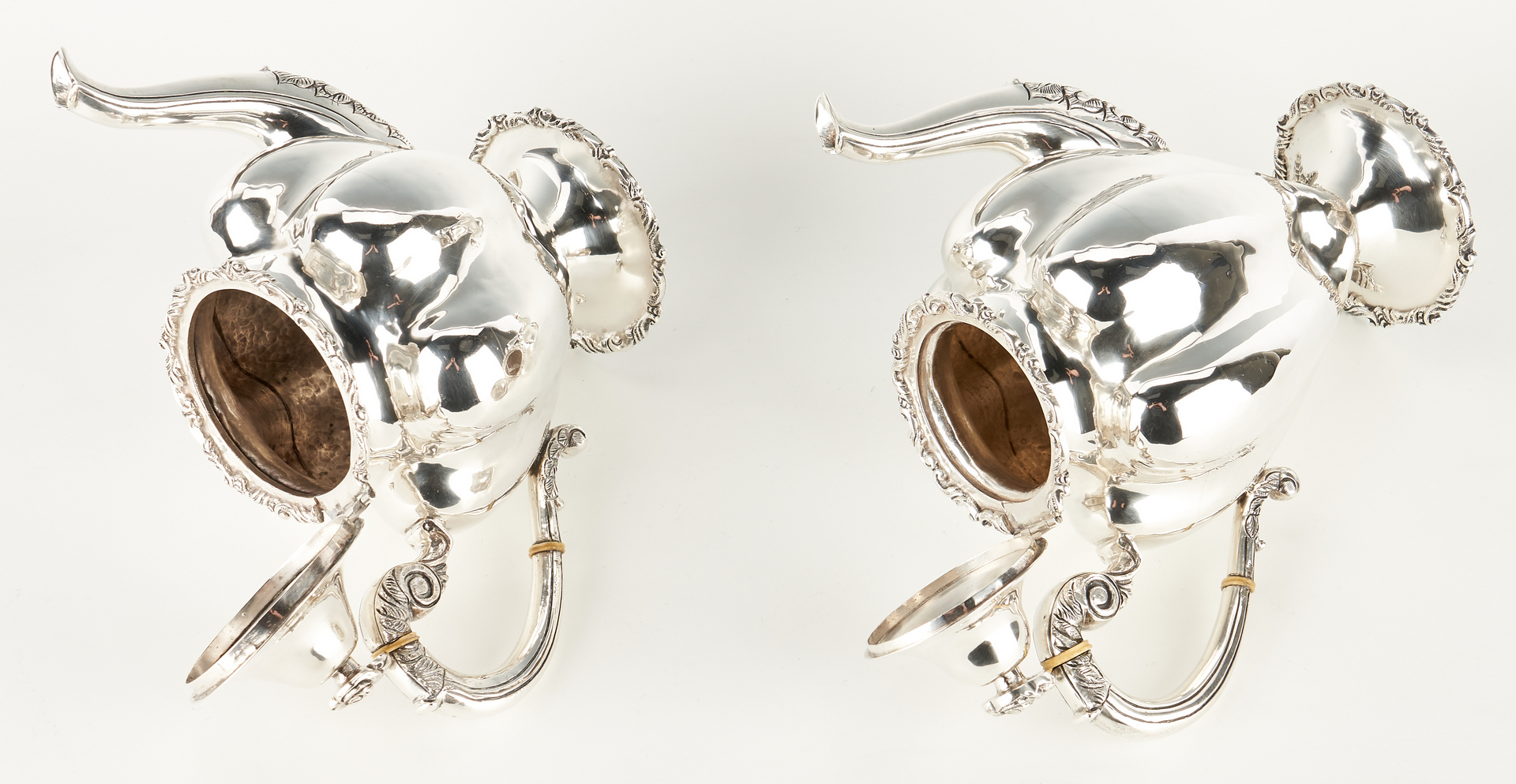 Lot 282: 4 Pcs. Mexican Lilyan Sterling Silver Tea Set