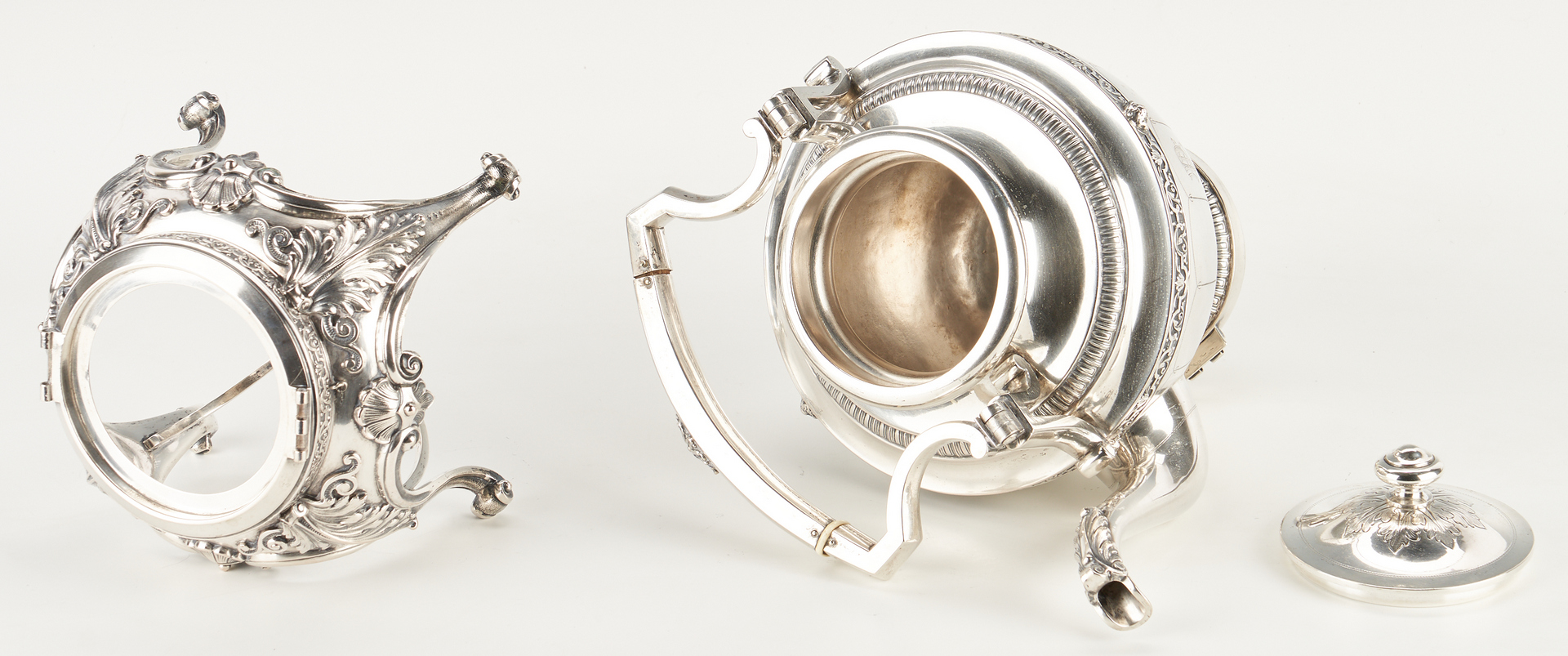 Lot 286: Continental Neoclassical Silver Hot Water Kettle on Stand