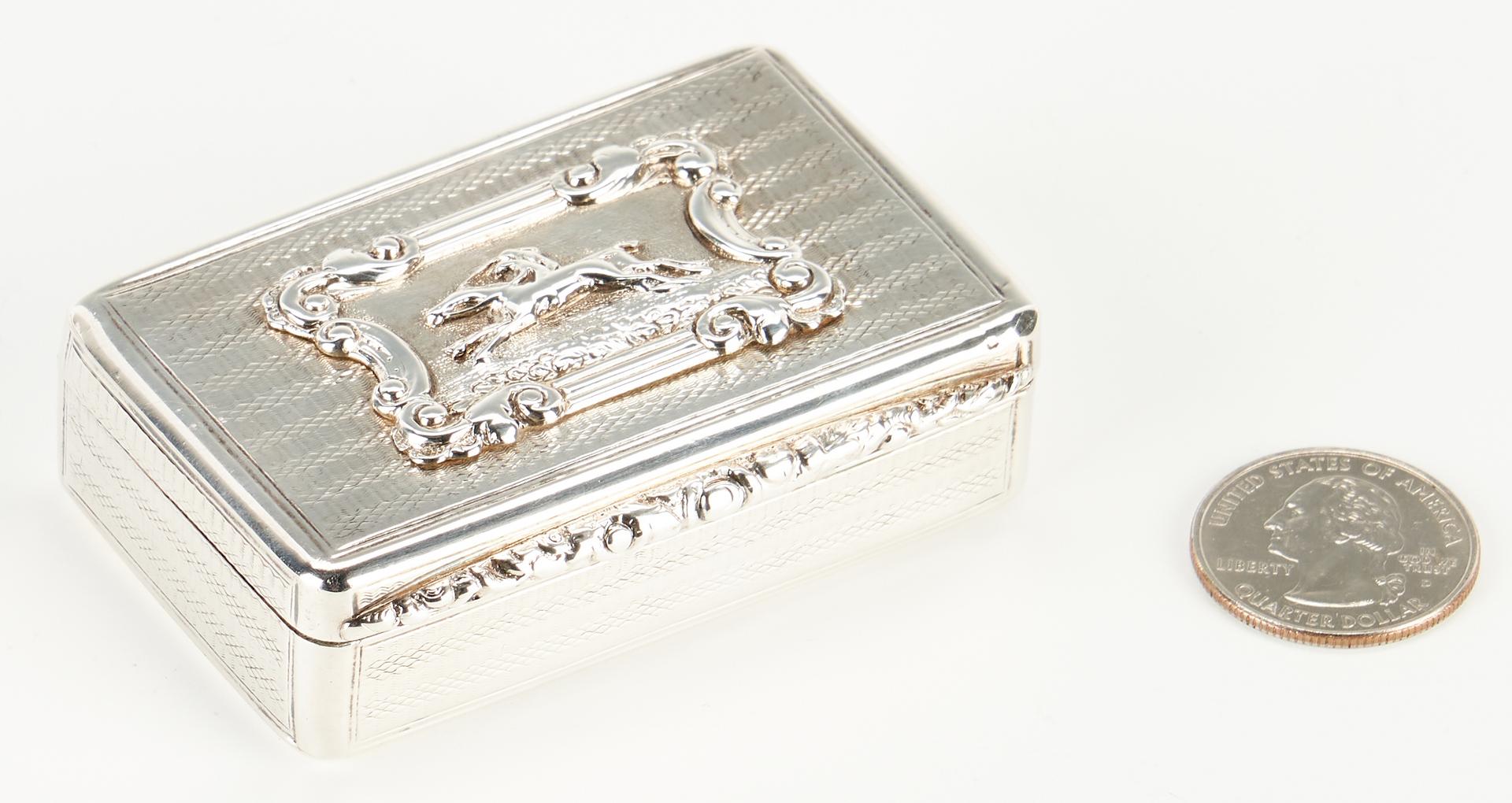 Lot 293: English Sterling Silver Snuff Box, Horse Racing Scene