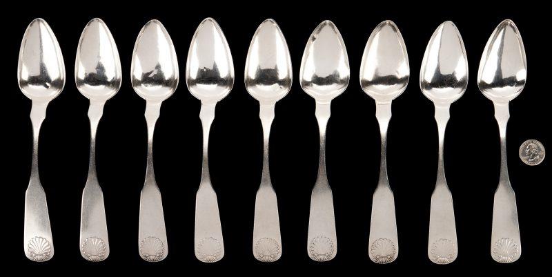 Lot 299: 9 Kentucky Coin Silver Tablespoons, Evans C. Beard