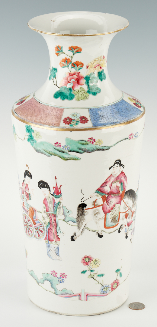 Lot 29: Chinese Famille Rose Porcelain Rouleau Vase, Qing