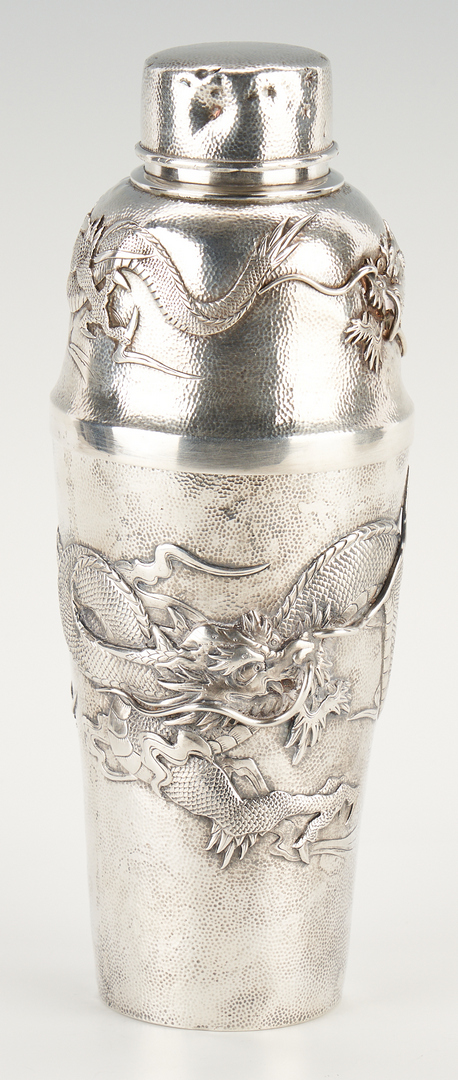 Lot 2: Asian Export Silver Cocktail Set, incl. Shaker, Beakers, Tray & Stirrers