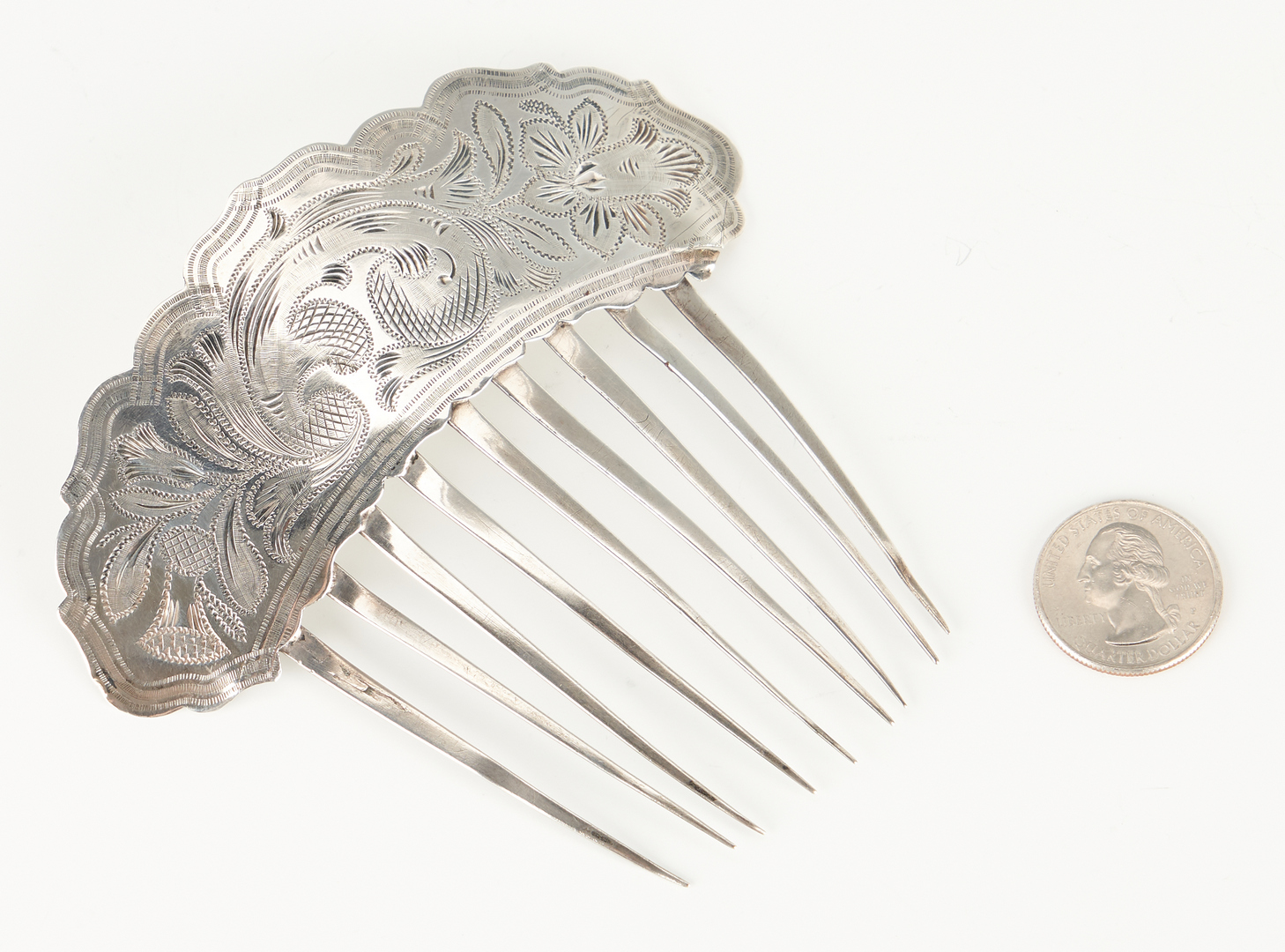 Lot 302: KY Coin Silver Hair Comb, W.C. Smith