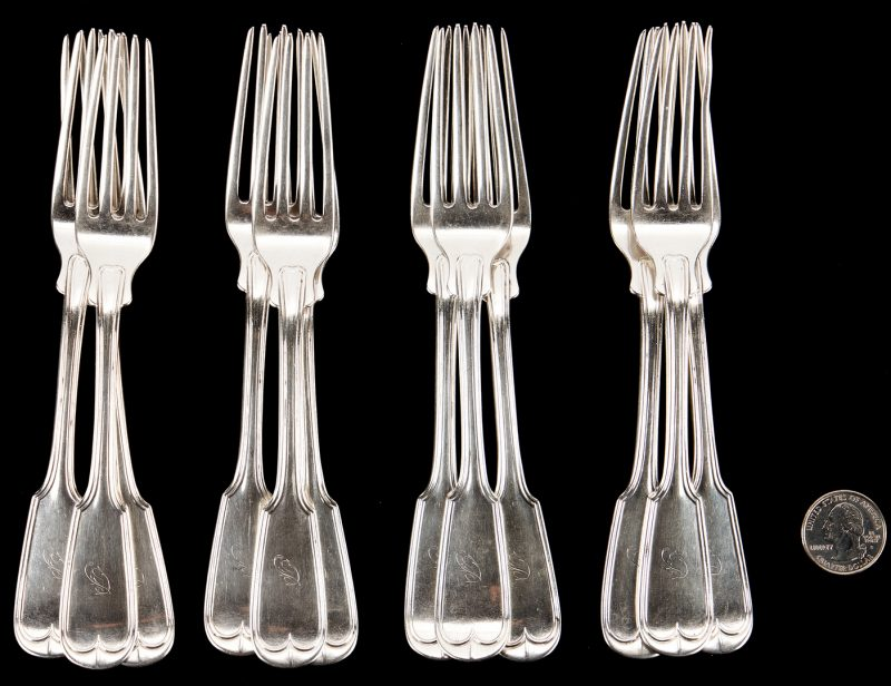 Lot 304: 12 Kentucky Coin Silver Forks, Poindexter