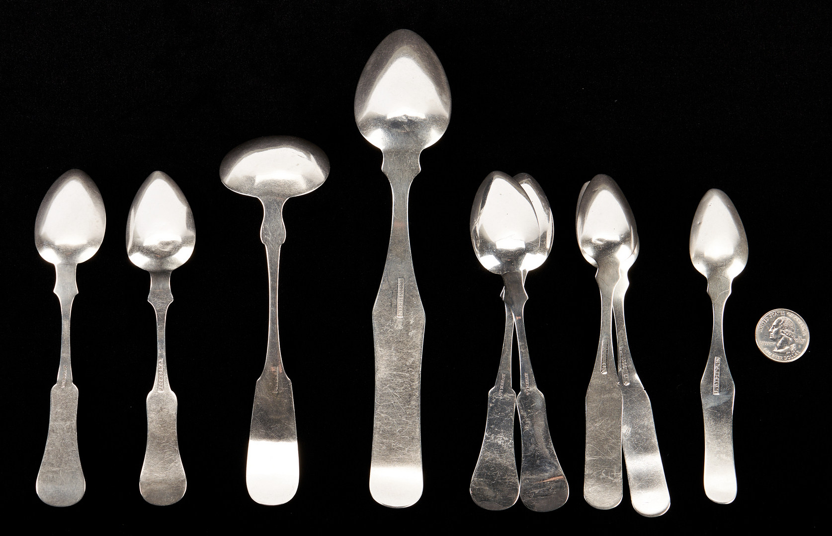 Lot 308: Coin Silver Ladle, Spoons attr. Bardstown KY and/or TN