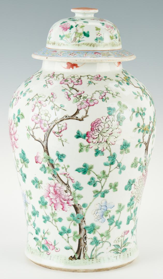 Lot 30: Large Chinese Famille Rose Porcelain Baluster Covered Jar