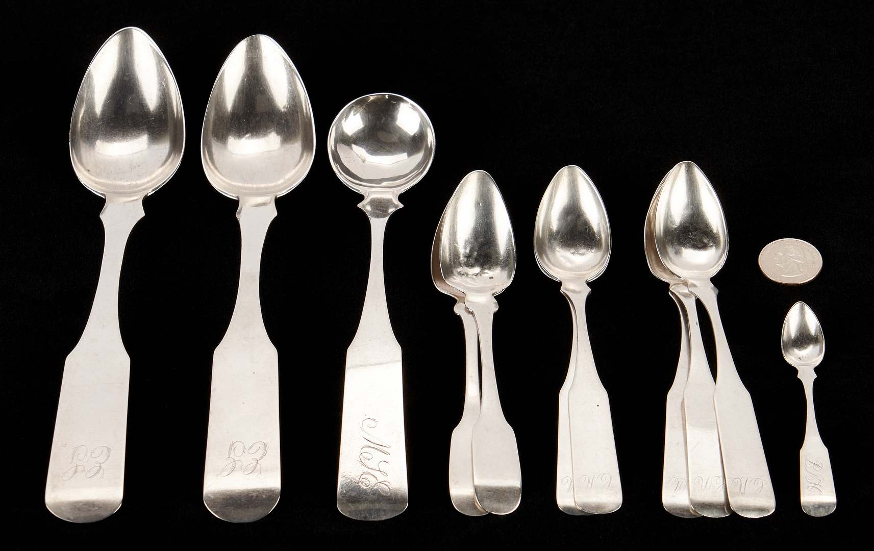 Lot 315: 11 Pcs. Beauchamp KY Coin Silver, incl. Ladle, Bowling Green