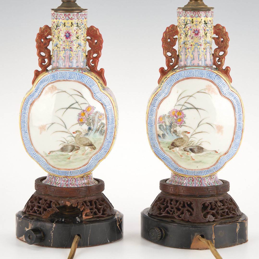 Lot 31: Pair Qing Rooster Quatrefoil Moon Flask Vases, made into lamps