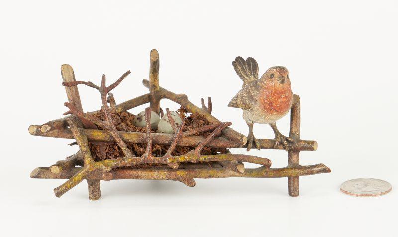 Lot 323: Continental Cold Painted Bronze Bird Nest