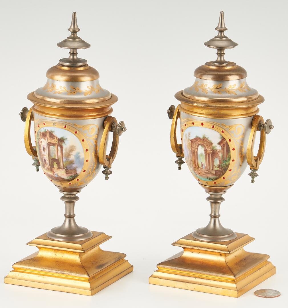 Lot 324: Pr. of Silvered, Bronze & Enameled Porcelain Urns