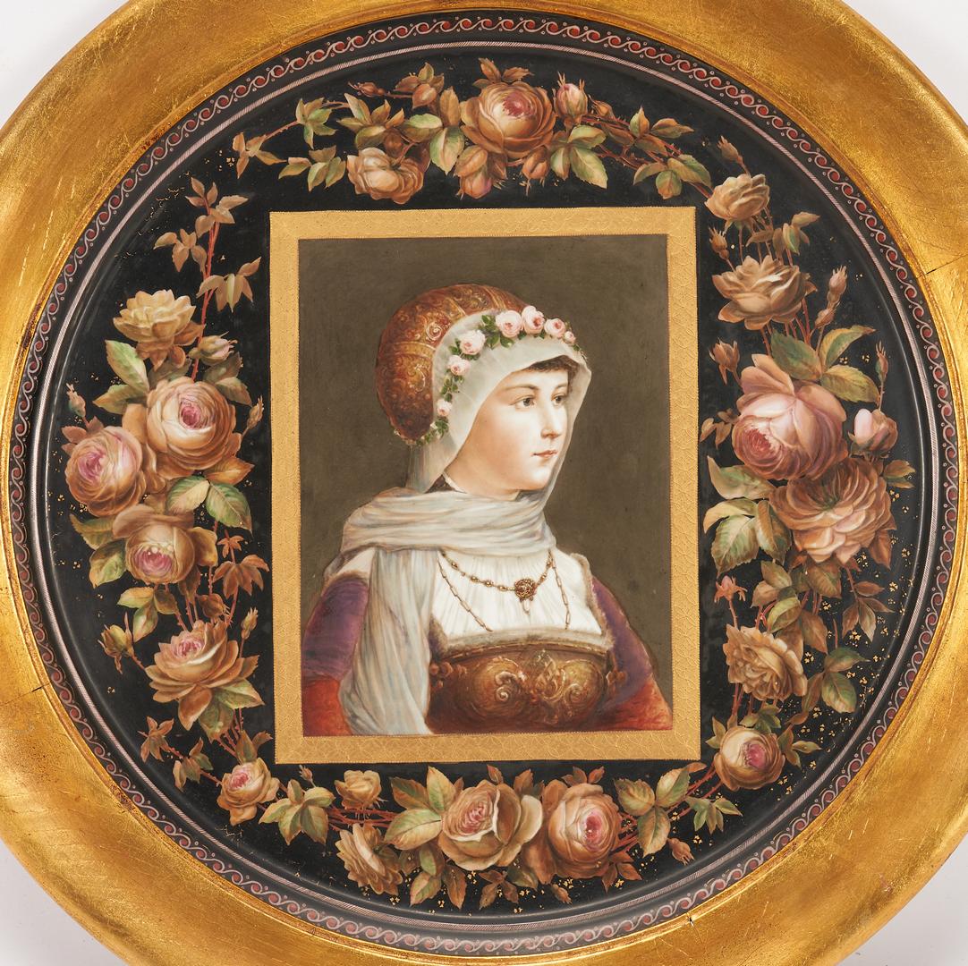 Lot 325: Carl Knoll Austrian Framed Female Portrait Plaque or Charger