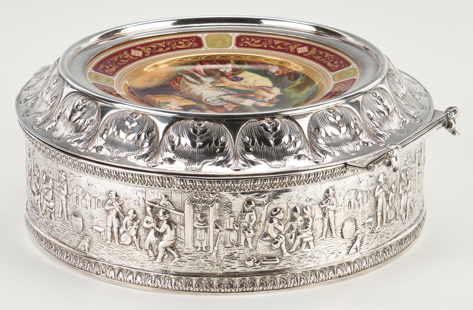 Lot 326: Silverplated Cake Box w/ Royal Vienna Style Lid