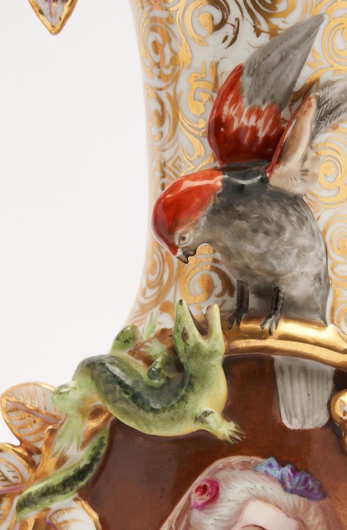 Lot 328: 3 Porcelain Items, Portrait Vases and Center Bowl