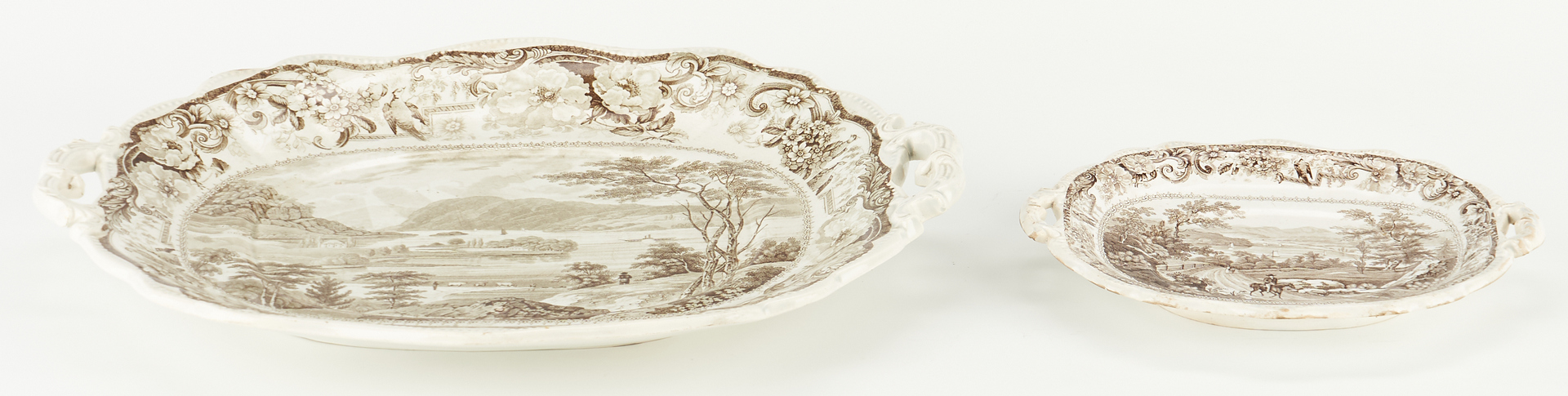 Lot 329: Two (2) Historical Staffordshire Platters, Hudson River