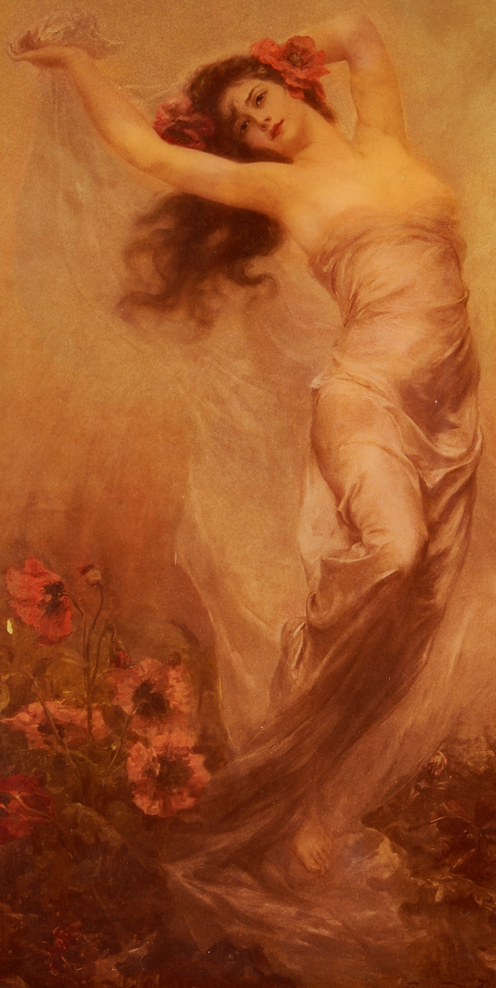 Lot 332: Edouard Bisson Reverse Glass Painting of a Woman