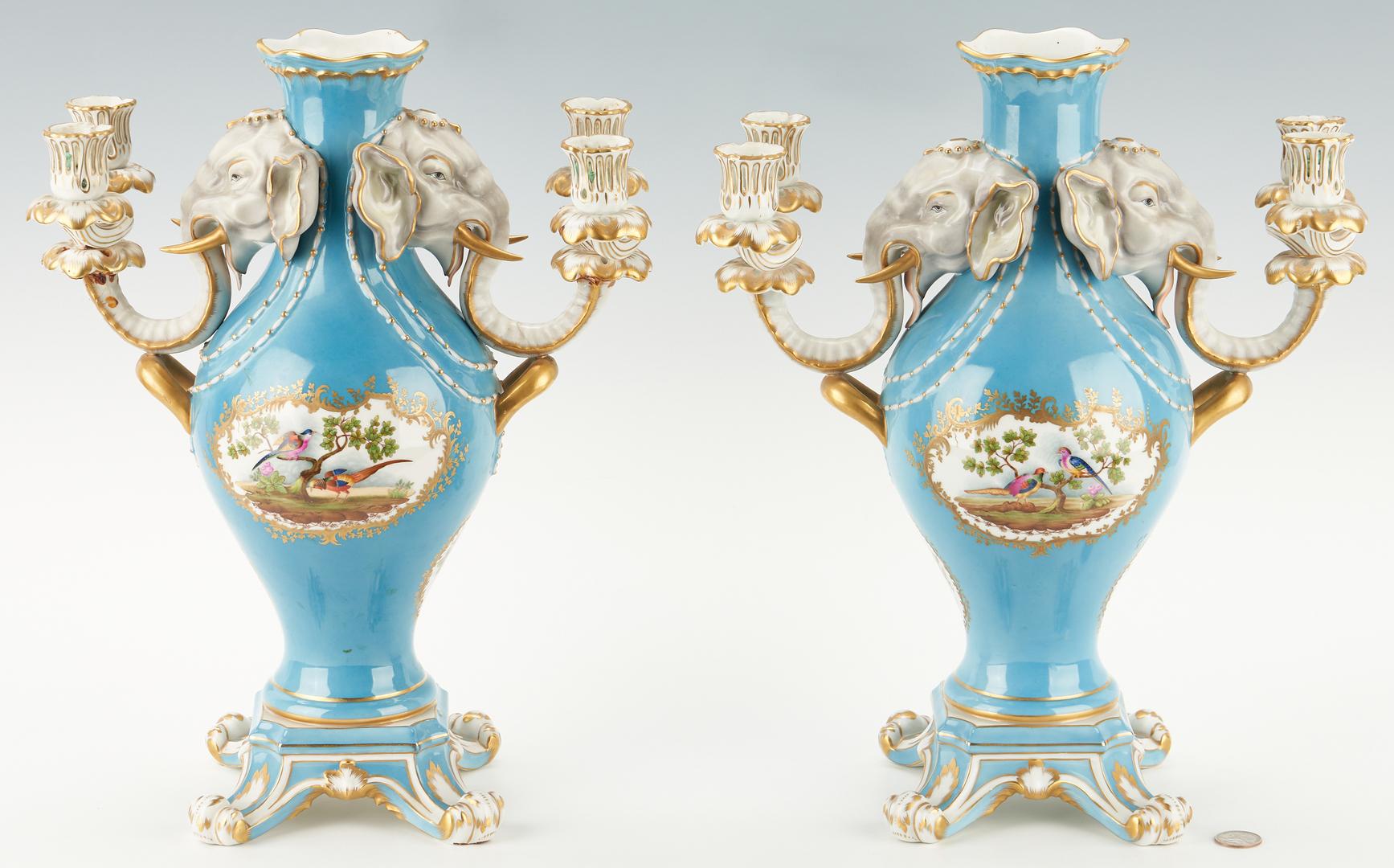 Lot 333: Pr. Sevres Style Candelabra Vases a Tete de Elephant