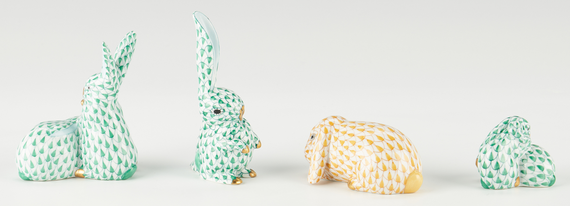 Lot 334: 7 Herend Rabbit Porcelain Figurines