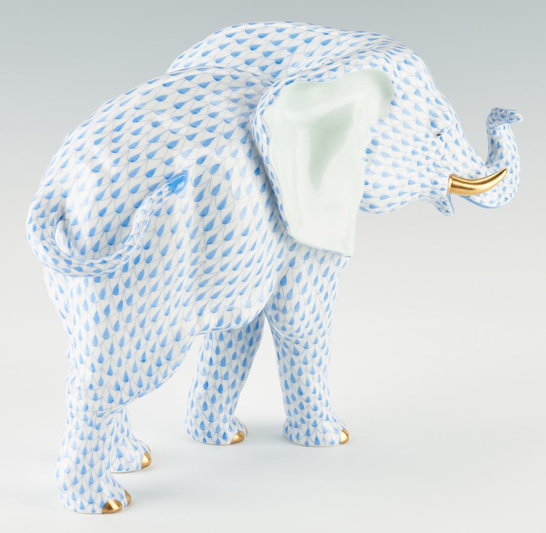 Lot 336: Large Herend Blue Fishnet Elephant, Model 5214