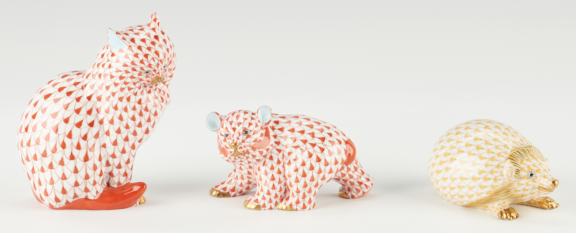 Lot 341: 7 Herend Animal Figurines, incl. Cats, Hedgehog