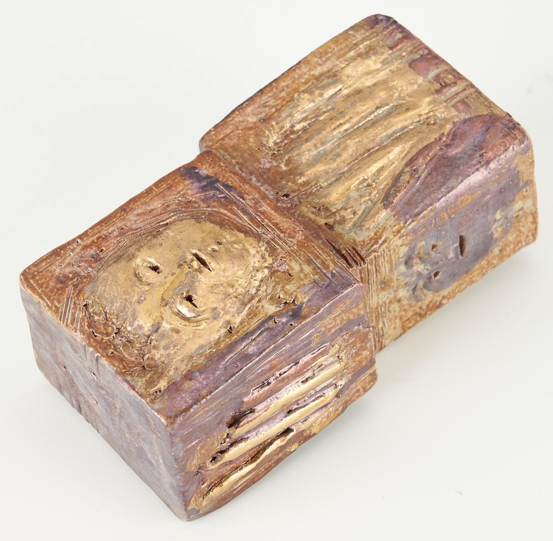 Lot 349: Olen Bryant Gilt Plaque, Bowl, and Blocks, 3 items