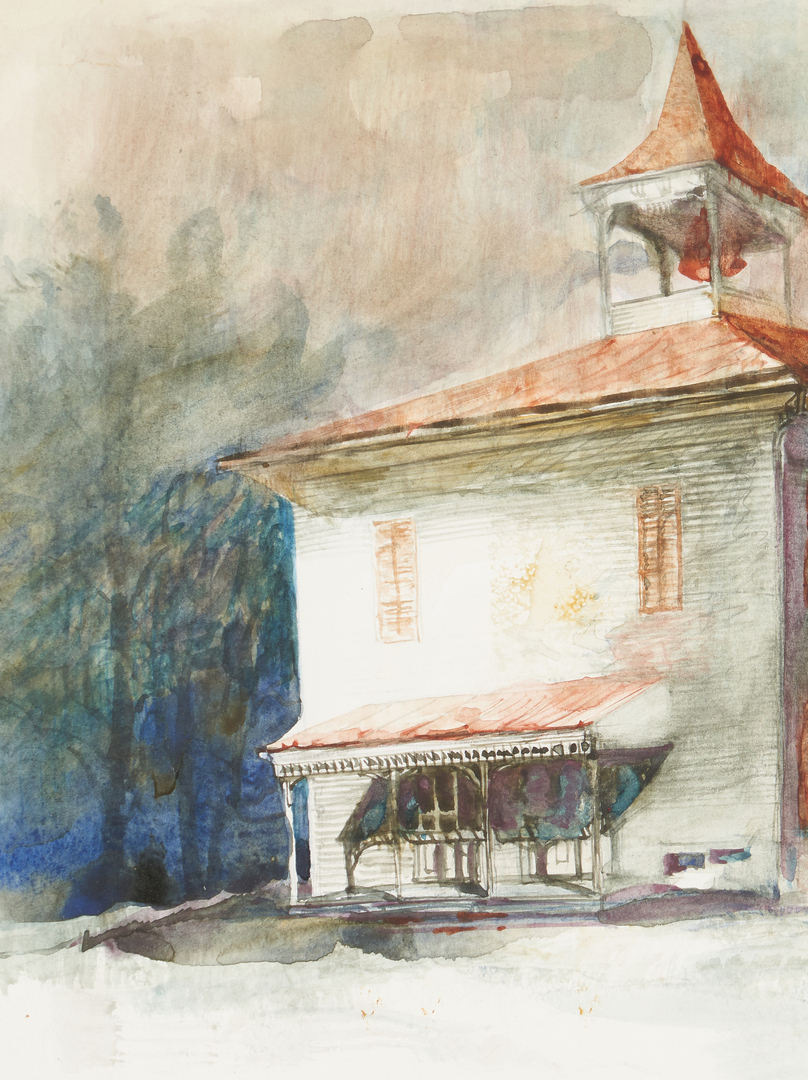 Lot 350: 2 Carl Sublett Paintings, incl. Vergura Schoolhouse and Abstract Oil