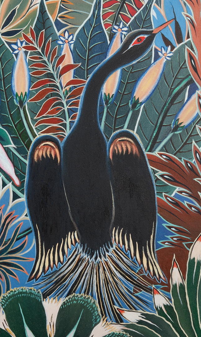 Lot 353: Exhibited Paul Lancaster O/C Painting, Tropical Princess
