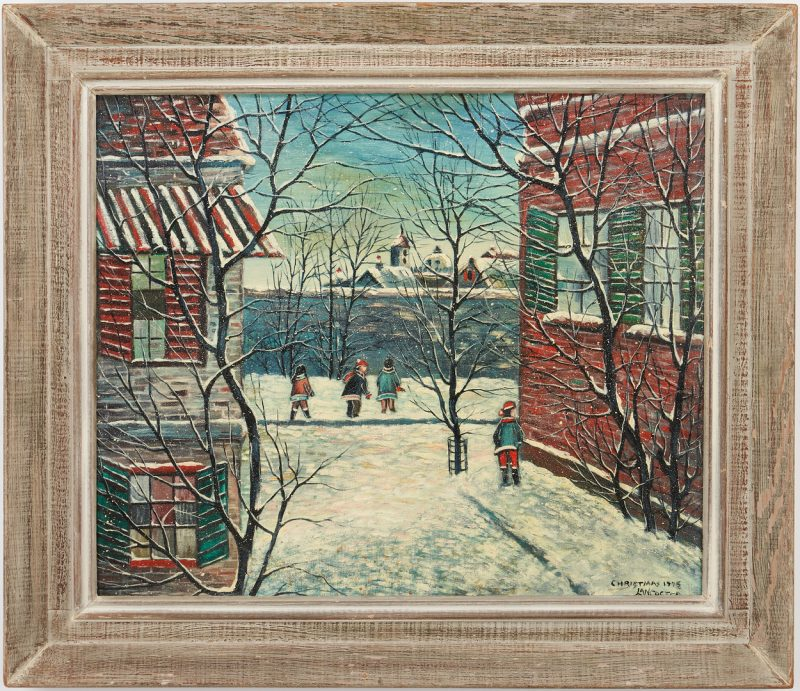 Lot 354: Paul Lancaster O/B Winter Scene, Christmas 1975